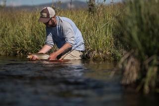 Frederik Lorentzen Fly Fishing Angler wears Fortis Eyewear Flat Tops